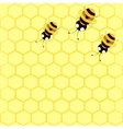 background with bees and honeycomb vector image vector image