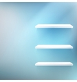 Empty white wooden shelf at the wall vector image vector image