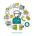 technical assistant - line round concept vector image vector image