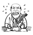 cartoon of businessman waiting food-drawing