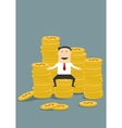 Successful wealthy businessman sitting on money vector image