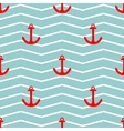 Tile sailor pattern with red anchor on zig zag vector image