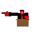 Angry boss points finger up office relationships vector image
