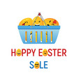happy easter sale with smiley eggs vector image