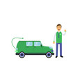 happy man seller cartoon character standing with vector image