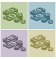 Pile of money stack banknotes vector image