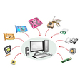 Set of Desktop Computer Equipment vector image