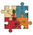 Autism puzzle simbol retro vector image vector image