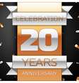 Twenty years anniversary celebration golden and vector image