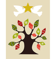 Peace and love Christmas tree design idea vector image vector image