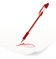 image of red ballpoint pen writing on paper vector image