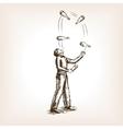 Juggler man sketch style vector image