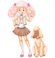 cute girl and fluffy poodle dog vector image