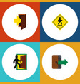 flat icon emergency set of entry direction vector image