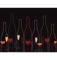 wine bottles Wine bottle and glass vector image