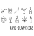 Cigarette and alcohol hand drawn icons vector image