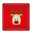 colorful square frame with christmas reindeer face vector image