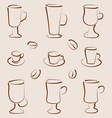 Outline set coffee and tea design elements vector image