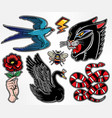 set of animals and items in classic flash style vector image