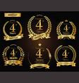 anniversary golden laurel wreath 4 years vector image vector image