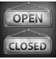 Iron sign hanging open closed vector image