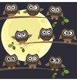 Night owls on branches vector image vector image