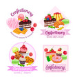 banner or label with confectionery and sweets vector image