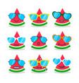 cartoon watermelon emojis with emotion vector image