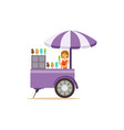 flat street food cart with ice cream vector image