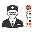 head physician icon with lovely bonus vector image