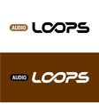 Loops text logo with infinity sign inside vector image