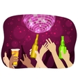 many hands raised up holding beer at party vector image