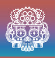 monsters skull with brain of gears vector image