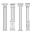 realistic white antique roman column set vector image