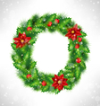 wreath with holly pine and poinsettia on grayscale vector image