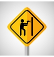 under construction road sign making hole wall vector image