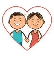 color silhouette with couple in heart shape vector image