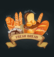 fresh bread baking shop emblem vector image