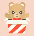 Teddy bear in a box vector image