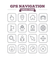 GPS navigation linear icons set Thin outline vector image