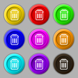 trash icon sign symbol on nine round colourful vector image