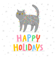 Happy holidays cat vector image