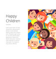 Banner with happy children faces place for text vector image