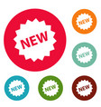 new sign icons circle set vector image