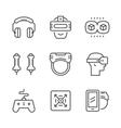 Set line icons of virtual reality vector image