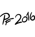 PF 2016 isolated on white - text vector image