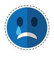 sad emoticon style icon cut line vector image
