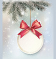 Christmas background with a label and a bow vector image vector image