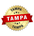 Tampa round golden badge with red ribbon vector image
