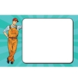 Male mechanic next to the poster vector image